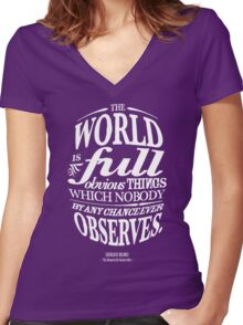 Sherlock Holmes novel quote – obvious things Women's Fitted V-Neck T-Shirt