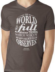 Sherlock Holmes novel quote – obvious things Mens V-Neck T-Shirt
