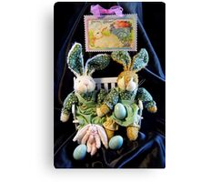 Green Bunnies For Easter Canvas Print