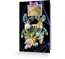 Green Bunnies For Easter Greeting Card