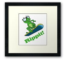 Cool frog on a snowboard.  Framed Print