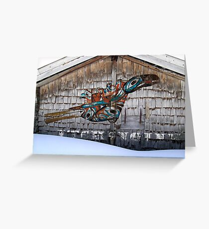 Raven-Rattle on Chalet Facade Greeting Card