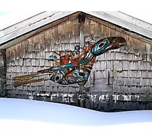 Raven-Rattle on Chalet Facade Photographic Print