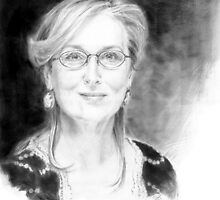Portrait of Meryl Streep, pencil on a paper by GB-works