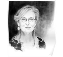 Portrait of Meryl Streep, pencil on a paper Poster
