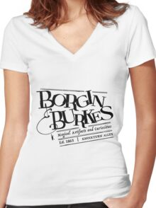 Borgin & Burkes (in black) Women's Fitted V-Neck T-Shirt