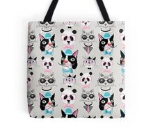 pattern of retro hipster animal portraits  Tote Bag