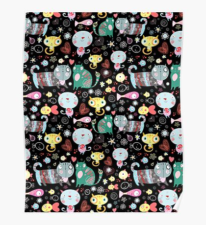 Funny pattern of kittens  Poster