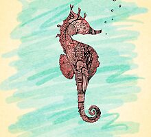 coral seahorse by Madelyn Stewart