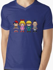 Earthbound Pixels - Ness, Paula, Jeff & Poo Mens V-Neck T-Shirt