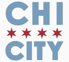 Chi City White Vneck Tee by MNDesigns