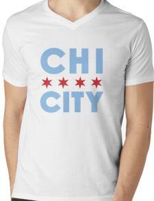 Chi City White Vneck Tee Mens V-Neck T-Shirt