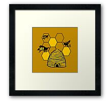 Bee happy in yellow Framed Print