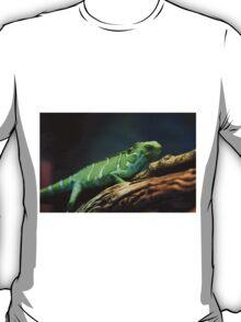 Green Lizard on Tree Branch T-Shirt
