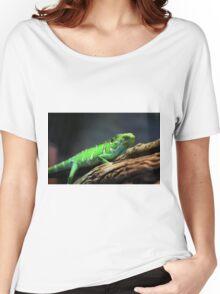 Green Lizard on Tree Branch Women's Relaxed Fit T-Shirt