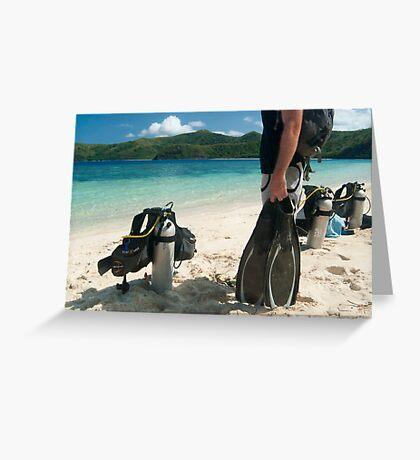 Man going scuba diving Greeting Card