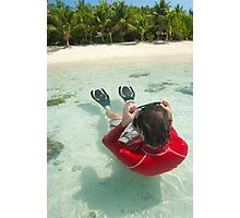 Man snorkeling in shallow water Photographic Print