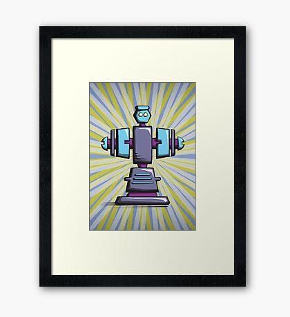 Retro robot – old blue Framed Print