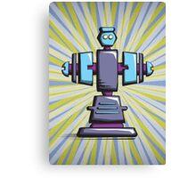 Retro robot – old blue Canvas Print