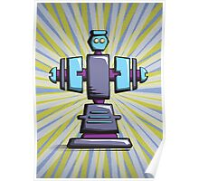 Retro robot – old blue Poster