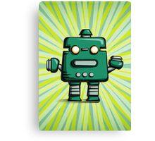 Retro robot – old green Canvas Print