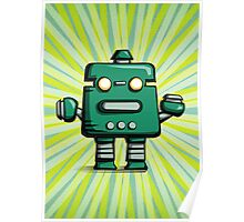 Retro robot – old green Poster