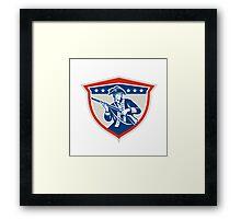 American Patriot Holding Musket Rifle Shield Retro Framed Print