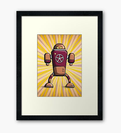 Retro robot – old orange Framed Print