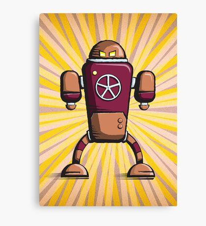 Retro robot – old orange Canvas Print