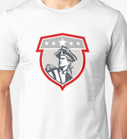 American Patriot Looking Up Shield Retro Unisex T-Shirt