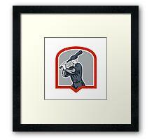 Baseball Batter Batting Woodcut Shield Framed Print
