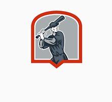 Baseball Batter Batting Woodcut Shield Unisex T-Shirt