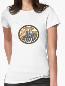 Farmer Driving Tractor Plowing Field Retro T-Shirt