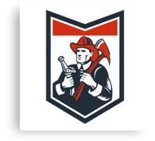Fireman Firefighter Carry Axe Hose Shield Woodcut Canvas Print