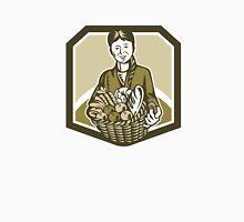Female Organic Farmer Crop Harvest Woodcut Unisex T-Shirt