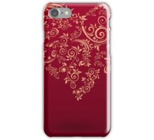vintage red postcard with heart and flowers iPhone Case/Skin