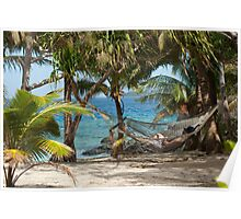 Relaxing in a tropical hammock Poster