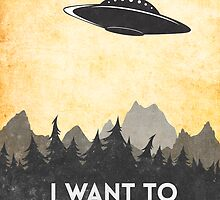 I want to believe UFO3 by Watercolorsart