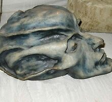 Alien mummy head - hand built clay by matthewsart