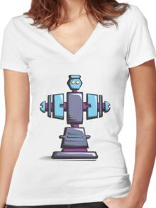 Retro robot – old blue Women's Fitted V-Neck T-Shirt