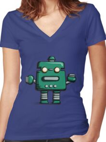 Retro robot – old green Women's Fitted V-Neck T-Shirt