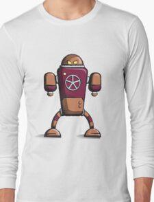 Retro robot – old orange Long Sleeve T-Shirt