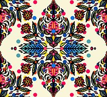 Bright Folk Art Pattern - hot pink, orange, blue & green by micklyn