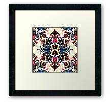 Bright Folk Art Pattern - hot pink, orange, blue & green Framed Print
