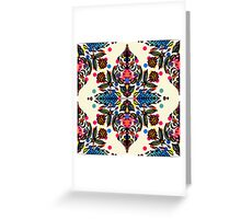 Bright Folk Art Pattern - hot pink, orange, blue & green Greeting Card