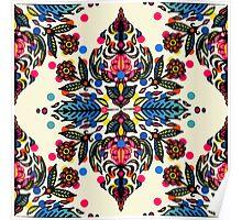 Bright Folk Art Pattern - hot pink, orange, blue & green Poster