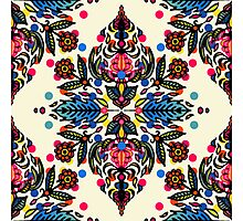 Bright Folk Art Pattern - hot pink, orange, blue & green Photographic Print
