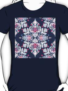 Pastel Folk Art Pattern in soft navy, pink, mauve & white T-Shirt