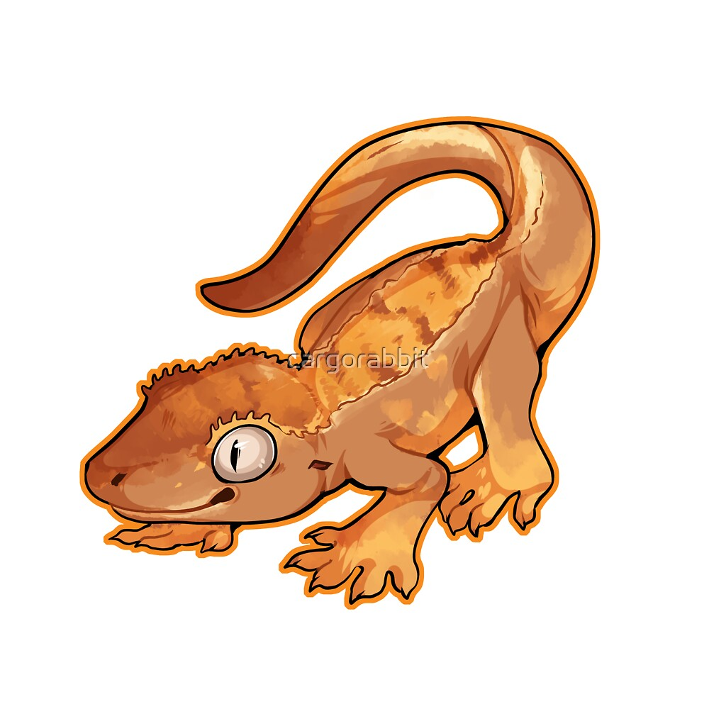 Crested Gecko - Partial Pinstripe Harley by cargorabbit