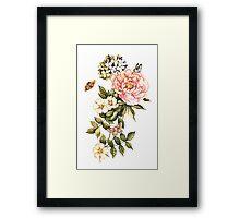 Watercolor vintage floral motifs Framed Print